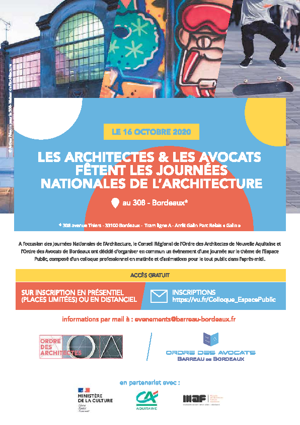 Intervention de Me GAUCI aux Journées Nationales de l'Architecture le 16 octobre 2020 à Bordeaux